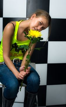 Free Girl With Flowers Stock Images - 14385504