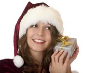 Happy Santa Claus Woman Holds Christmas Gift Royalty Free Stock Photos