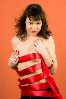 Free Sexy Girl With Red Ribbons Stock Photo - 14385790