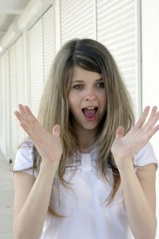 Young Lady Surprised Face Royalty Free Stock Photo