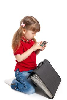 The Girl With The Calculator On A White Stock Photo