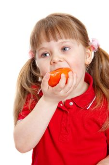 Free The Girl Eats A Tomato. Stock Photo - 14386310
