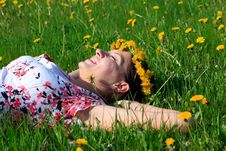 Free Beautiful Girl Lying Down Of Grass Stock Photography - 14386572