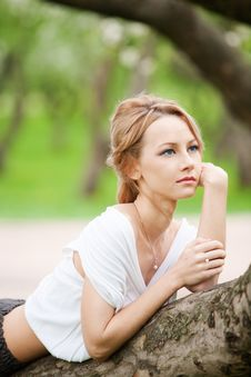 Blond Girl In Dreams Royalty Free Stock Photos