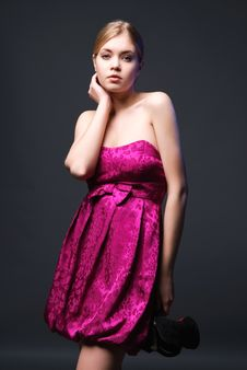 Free Lovely Young Woman Wearing On Pink Dress Stock Photo - 14386890