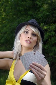 Free Bleached Country Girl With Cards Stock Images - 14387294