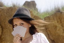 Country Girl With Cards [03] Royalty Free Stock Photography