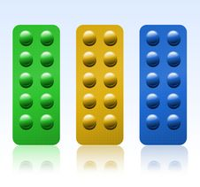 Free Set Of Colored Pills Stock Photography - 14388142