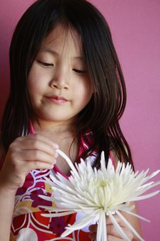 Little Asian Girl With Flower Royalty Free Stock Images