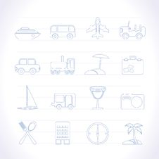 Free Travel, Transportation, Tourism And Holiday Icons Royalty Free Stock Photo - 14389815