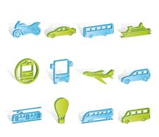 Free Travel And Transportation Of People Icons Royalty Free Stock Image - 14389866