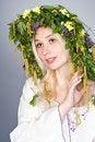 Free Beautiful Woman Wearing Chaplet Stock Photography - 14395772