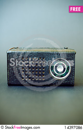 Vintage radio on gray grunge background Stock Photo