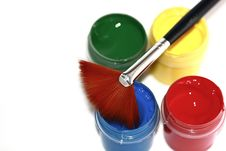 Free Paint Brush And Paint Buckets Stock Photos - 14392463
