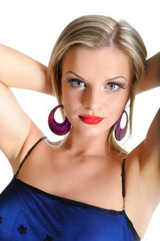 Beautiful Sexy Woman With Bright Make-up Stock Photography
