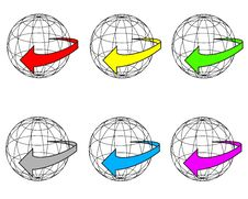 Arrow And Globe Stock Images