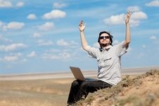 Free Man With Laptop Outdoors Stock Image - 14394011