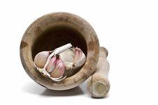 Garlic, Mortar And Pestle. Stock Image