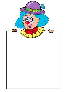 Clown Holding Blank Board Royalty Free Stock Photo