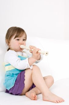 Free Little Girl  With Instrument Royalty Free Stock Photography - 14396477