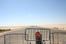 Free Closed Road In Desert Royalty Free Stock Images - 14397119