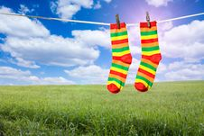 Socks On A Rope Stock Photography