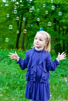 Free Girl And Soap Bubbles Royalty Free Stock Image - 14398956