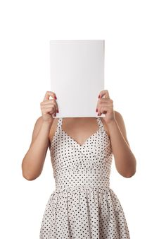 Free Woman With The Blank Sheet Of Paper Stock Photo - 14399430