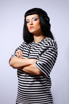 Free Woman Posing In A Striped Top Royalty Free Stock Photo - 14399465