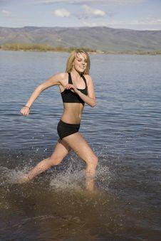 Enjoying Running In Water Royalty Free Stock Photo