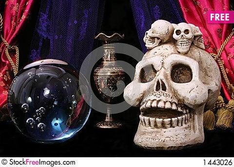 Skull and Crystal Ball Stock Photo