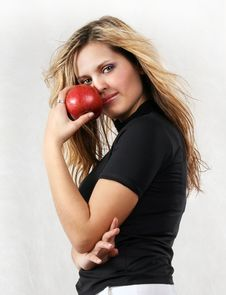 Free Young Beautiful Woman With Red Apple On The White Stock Photo - 1440510
