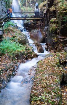 Free Bridge Across Gorge Falls Royalty Free Stock Image - 1442056