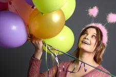 Model With Alien Antenna Balloon Stock Photos