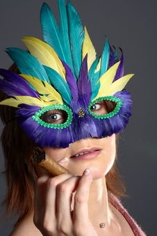 Free Model With Feather Mask Stock Images - 1443964