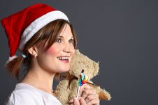 Free Santa Girl With Teddy And Lollipop Stock Images - 1444094