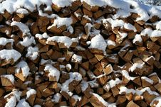 Pile Of Chopped Logs Stock Photo