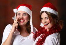 Free Two Santa Girls Stock Image - 1444171