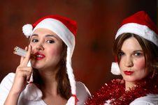 Free Two Santa Girls Stock Image - 1444191