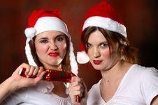 Free Two Santa Girls Stock Images - 1444204