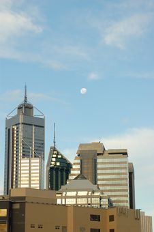 Free Moon Over Sun-lit Perth Skyscrapers Royalty Free Stock Images - 1445179