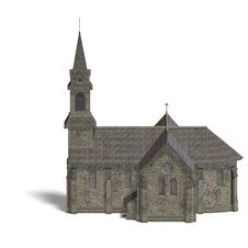 Free City Building Church. 3D Rendering With Clipping Royalty Free Stock Photo - 14400075