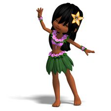 Free Very Cute Hawaiin Cartoon Girl Is Dancing For Stock Photo - 14400130