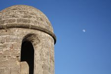 Free Fort Tower With Moon Stock Photos - 14400473