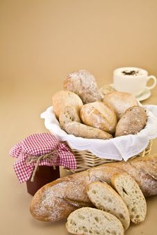 Free Fresh Bread And Jam Stock Photography - 14400602