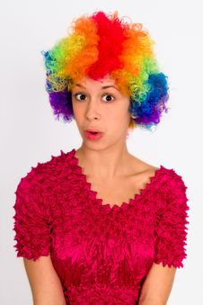 Free Cute Girl Dressed In Clown Wig Royalty Free Stock Image - 14401376