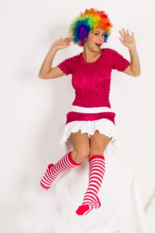 Free Cute Girl Dressed In Clown Wig Royalty Free Stock Photo - 14401385