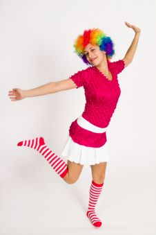 Free Cute Girl Dressed In Clown Wig Royalty Free Stock Photos - 14401388