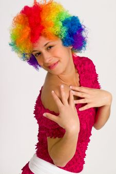 Free Cute Girl Dressed In Clown Wig Stock Photography - 14401392