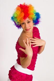 Free Cute Girl Dressed In Clown Wig Stock Photo - 14401400